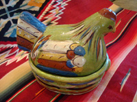 Mexican vintage pottery and ceramics, a lidded casserole dish in the shape of a wonderful nesting chicken, with a fine green background and great artwork decoration, Tlaquepaque, c. 1930-40.  Another angle of the chicken casserole.