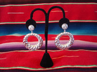 Mexican vintage sterling silver jewelry, and Taxco vintage silver jewelry, a very fine pair of hoop, dangling earrings, Taxco, c. 1930-40's. Main photo of the Taxco silver earrings.