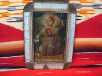 Mexican vintage tinwork-art (tin art), and Mexican vintage devotional art and retablos, a very fine painting on tin of the Santo Nino de Atocha, mounted in an early and very fine tinwork-art nicho, c. 1910-20's. Another full view of the front of the tim-art nicho with the fine retablo of the Santo Nino de Atocha.