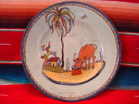 Mexican vintage pottery and ceramics, a very finely painted pottery plate featuring a wonderful bull and a great rural Mexican scene, Tonala or Tlaquepaque, Jalisco, c. 1920-30's. Main photo of the Tonala or Tlaquepaque plate.