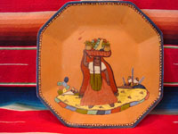 Mexican vintage pottery and ceramics, an octagonal pottery plate featuring a dashingly lovely Mexican maiden, very finely painted, Tonala or Tlaquepaque, Jalisco, c. 1920-30's. Main photo of the front of the Tonala or Tlaquepaque plate with the lovely maiden.