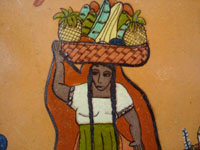Mexican vintage pottery and ceramics, an octagonal pottery plate featuring a dashingly lovely Mexican maiden, very finely painted, Tonala or Tlaquepaque, Jalisco, c. 1920-30's. Closeup photo of the lovely maiden.
