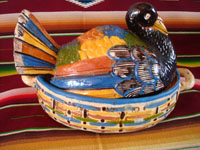 Mexican vintage pottery and ceramics, and Mexican vintage folk art, a wonderful lidded casserole in the form of a beautiful turkey, Tonala or Tlaquepaque, Jalisco, c. 1930's. A side-view of the turkey casserole.