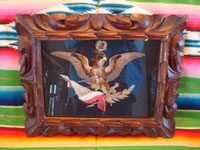 Mexican vintage folk art, and Mexican vintage wood-carving, a beautiful feather-art portrait of the Mexican eagle, in a wonderful hand-carved wooden frame, c. 1930's. Main photo.
