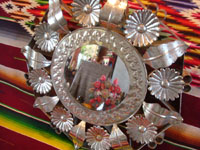 Mexican vintage tinwork art (tin art), a beautiful tinwork art mirror, Oaxaca, c. 1950's. Another view of the tin art mirror.