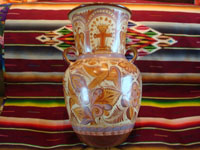 "Mexican vintage pottery and ceramics, a very beautiful pottery olla (jar or vase) with exquisite hand-painted decorations, canela (cinammon colors), by the famous master of Mexican pottery and folk art, ""Pajarito"", Tonala, Jalisco, c. 1950's. Photo of a second side of the olla."