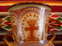 "Mexican vintage pottery and ceramics, a very beautiful pottery olla (jar or vase) with exquisite hand-painted decorations, canela (cinammon colors), by the famous master of Mexican pottery and folk art, ""Pajarito"", Tonala, Jalisco, c. 1950's. Another view of the top of the olla."