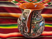 Mexican vintage pottery and ceramics, a truly beautiful pottery pitcher, with intricate and crisp artwork, by the famous, late Jose Bernabe, Tonala or Tlaquepaque, Jalisco, c. 1950's. A photo shot from behind the Bernabe pottery pitcher from Tonala.