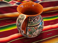 Mexican vintage pottery and ceramics, a truly beautiful pottery pitcher, with intricate and crisp artwork, by the famous, late Jose Bernabe, Tonala or Tlaquepaque, Jalisco, c. 1950's. Another photo shot from behnd the Bernabe pitcher.