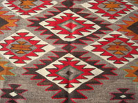 Native American Indian vintage textiles, and Navajo vintage textiles and rugs, a very lovely Navajo textile or large rug, with a very fine weave and beautiful design, probably Red Mesa, Arizona, c. 1920-30's. A closer photo of the design elements of the Red Mesa Navajo textile or rug.