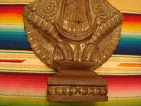 Mexican vintage devotional art, and Mexican vintage wood-carvings and masks, a lovely and finely carved wooden statue of Our Lady of Good Health (N.S. de la Salud), patroness of Michoacan, Patzcuaro, c. 1930's. A photo showing the bottom half of the Mexican wood-carving.