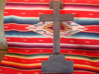 Mexican vintage devotional art, and Mexican vintage woodcarving and masks, a beautiful Cruz de Animas (Cross of the Souls in Purgatory), hand-painted on wood, Queretaro, c. 1870-1900. Photo showing the back side of the cross.