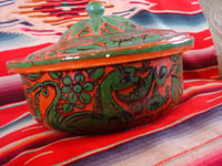 Mexican vintage pottery and ceramics, a fantasia-ware lidded casserole with beautiful and fanciful hand-painted decorations, Tonala or Tlaquepaque, Jalisco, c. 1940's. Photo showing a side-view of the fantasia bowl.