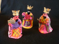 Mexican vintage folk art, and Mexican vintage devotional art, a beautiful and brightly decorated pottery nativity set, Metepec, c. 1940's. Photo showing the three kings, part of the nativity set from Metepec.