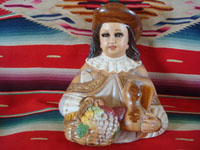 Mexican vintage devotional art, and Mexican vintage pottery and ceramics, a lovely chalk or plaster-art wall-hanging depicting the Santo Nino de Atocha, with glass eyes and with eye-lashes, c. 1940's. Main photo of the Santo Nino.