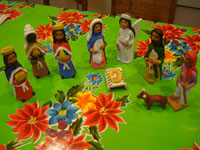 Mexican pottery and ceramics, and Mexican folk art, a wonderful 9-piece Nativity Set, by the famous folk artist of Ocotlan, Oaxaca, Josephina Aguilar, Oaxaca, c. 1980's. Main photo.