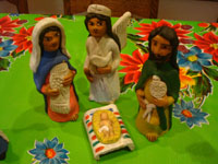 Mexican pottery and ceramics, and Mexican folk art, a wonderful 9-piece Nativity Set, by the famous folk artist of Ocotlan, Oaxaca, Josephina Aguilar, Oaxaca, c. 1980's. Closeup of the three wisemen.