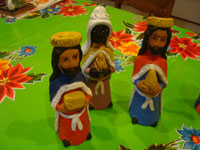 Mexican pottery and ceramics, and Mexican folk art, a wonderful 9-piece Nativity Set, by the famous folk artist of Ocotlan, Oaxaca, Josephina Aguilar, Oaxaca, c. 1980's. Another closeup photo of the three wise men.