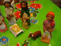 Mexican pottery and ceramics, and Mexican folk art, a wonderful 9-piece Nativity Set, by the famous folk artist of Ocotlan, Oaxaca, Josephina Aguilar, Oaxaca, c. 1980's. Closeup photo of the shepherd and sheep.