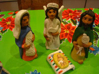 Mexican pottery and ceramics, and Mexican folk art, a wonderful 9-piece Nativity Set, by the famous folk artist of Ocotlan, Oaxaca, Josephina Aguilar, Oaxaca, c. 1980's. Closeup photo of Mary, Joseph, and the Baby Jesus.