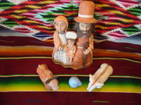 Peruvian pottery and ceramics, and Peruvian folk art, a wonderful pottery Nativity scene with lovely colors, Peru, c. 1970's.