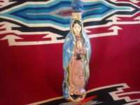 Mexican vintage pottery and ceramics, and Mexican vintage folk art and devotional art, a wonderful pottery bottle depicting Our Lady of Guadalupe, San Pedro Tlaquepaque or Tonala, Jalisco, c. 1930-40's. Main photo of the bottle.