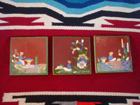 Mexican vintage folk art, and Mexican vintage pottery and ceramics, three tiles with beautiful background glazing and very finely painted scenes, San Pedro Tlaquepaque or Tonala, Jalisco, c. 1940's. Main photo showing all three tiles.