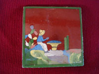 Mexican vintage folk art, and Mexican vintage pottery and ceramics, three tiles with beautiful background glazing and very finely painted scenes, San Pedro Tlaquepaque or Tonala, Jalisco, c. 1940's. Closeup photo of the first tile, showing a campesino and cacti.
