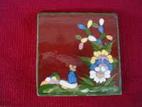 Mexican vintage folk art, and Mexican vintage pottery and ceramics, three tiles with beautiful background glazing and very finely painted scenes, San Pedro Tlaquepaque or Tonala, Jalisco, c. 1940's. Photo of the second tile, showing a seated man amidst flowers.