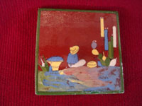 Mexican vintage folk art, and Mexican vintage pottery and ceramics, three tiles with beautiful background glazing and very finely painted scenes, San Pedro Tlaquepaque or Tonala, Jalisco, c. 1940's. Closeup photo of the third tile, showing a man seated amidst cacti.