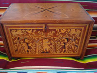 Mexican vintage folk art, and Mexican vintage woodcarvings and masks, a fabulous wooden escritorio (portable writing desk) with very fine marquetry inlay work, Oaxaca, c. 19th century. Main photo of the desk with the front cover closed.