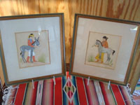 Native American Indian fine art, a pair of prints by the famous Navajo painter, Harrison Begay, c. 1940's. The very lovely and endearing prints feature a young Navajo boy with his donkey and a lovely Navajo girl with her pinto pony.  Main photo of the two prints.