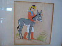 Native American Indian fine art, a pair of prints by the famous Navajo painter, Harrison Begay, c. 1940's. The very lovely and endearing prints feature a young Navajo boy with his donkey and a lovely Navajo girl with her pinto pony.  Photo of one print featuring a young Navajo boy and his burro.