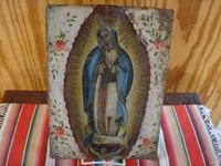 Mexican vintage devotional art, and Mexican vintage folk art and tinwork art, a beautiful retablo depicting Our Lady of Guadalupe, painted on tin, c. 1930.  Main photo of the retablo.