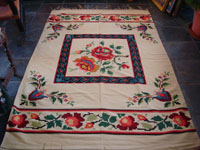 Mexican vintage sarapes and textiles, a lovely weaving from Oaxaca, c. 1910-20. The textile features lovely roses; it is an incredible piece of art. Main photo.