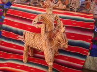 Mexican vintage straw-art and tule reed-art, a figure of Emiliano Zapata mounted on his horse, made of tule or river reeds from Tzintzuntzan, Michoacan, c. 1940's. Main photo.