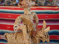 Mexican vintage straw-art and tule reed-art, a figure of Emiliano Zapata mounted on his horse, made of tule or river reeds from Tzintzuntzan, Michoacan, c. 1940's. Closeup photo of the rider.