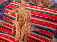 Mexican vintage straw-art and tule reed-art, a figure of Emiliano Zapata mounted on his horse, made of tule or river reeds from Tzintzuntzan, Michoacan, c. 1940's. Another angle of the rider and horse.