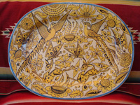 Mexican vintage pottery and ceramics, a beautiful fantasia-ware (fantasia) platter with highly imaginative decoration, Tlaquepaque, Jalisco, c. 1920-30's. Main photo of the fantasia platter.