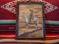 Mexican vintage straw-art (popote art or popotill0), a wonderful picture created with thousands of pieces of dyed straw or grass, featuring a Mexican gentleman (charro) mounted on his beautiful horse (perhaps a popote art portrait of the revolutionary war hero Emiliano Zapata), c. 1930's.  Main photo of the popote art picture.