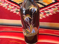 Mexican vintage pottery and ceramics, a beautiful black-ware bottle with exquisite artwork, Tlaquepaque, Jalisco, c. 1930's. A photo showing lovely palm trees decorating the Tlaquepaque pottery black-ware bottle.