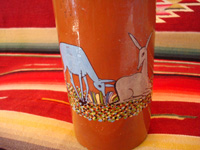 Mexican vintage pottery and ceramics, a beautiful pottery bottle with a brown (earthen-ware) background and very fine and detailed artwork, Tlaquepaque, Jalisco, c. 1930's. Closeup photo of the lovely deer decorating the Tlaquepaque bottle.