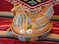 Mexican vintage pottery and ceramics, and Mexican vintage folk-art, a wonderful lidded pottery casserole in the shape of a nesting hen, Tonala or Tlaquepaque, Jalisco, c. 1930's. Main photo of the Tlaquepaque pottery lidded casserole.