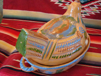 Mexican vintage pottery and ceramics, and Mexican vintage folk-art, a wonderful lidded pottery casserole in the shape of a nesting hen, Tonala or Tlaquepaque, Jalisco, c. 1930's. Photo from behind the Tlaquepaque pottery hen casserole.