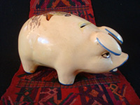Mexican vintage folk-art, and Mexican vintage pottery and ceramics, a wonderful piggy-bank with very fine artwork, Tonala or Tlaquepaque, Jalisco, c. 1940's. Main photo of the piggy-bank.