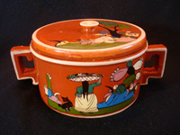 Mexican vintage pottery and ceramics, a beautiful Tonala or Tlaquepaque lidded bowl with handles, probably meant as a tortilla warmer, with fantastic artwork, Tonala or Tlaquepaque, Jalisco, c. 1930's. Main photo of the lidded bowl.