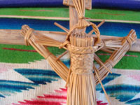 Mexican vintage straw-art, and Mexican vintage devotional art, a beautiful straw-art crucifix depicting Christ on the cross, Tzintzuntzan, Michoacan, c. 1950's. Closeup photo of Christ's head and face.