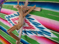 Mexican vintage straw-art, and Mexican vintage devotional art, a beautiful straw-art crucifix depicting Christ on the cross, Tzintzuntzan, Michoacan, c. 1950's. Another side-view of the straw-art cross.
