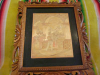 Mexican vintage straw-art (popote art or popotillo), a very fine and beautiful scene of a Mexican charro and his horse, and a lovely Mexican woman (China Poblana) in a very beautiful traditional costume, c. 1940's. Another full view of the straw-art (popote art or popotillo) scene.