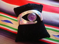 Mexican vintage sterling silver jewelry, and Taxco vintage silver jewelry, a beautiful silver bracelet with an amethyst cabochon, signed SIGI (Sigi Pineda), Taxco, c. 1940's. Main photo of the Taxco silver jewelry bracelet by Sigi Pineda.